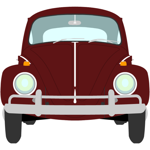Image of a ruby red 1964 1200 Volkswagen