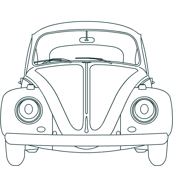 Line drawing of a 1964 1200 Volkswagen